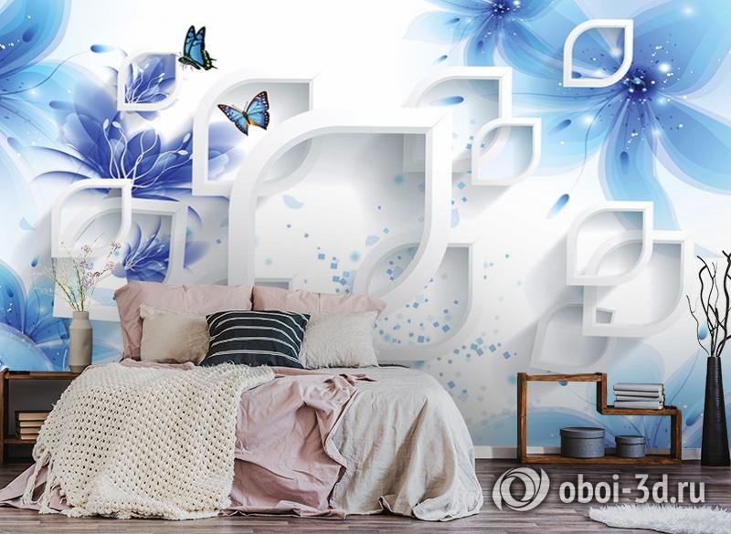 3D Фотообои «Синие цветы с бабочками» вид 4