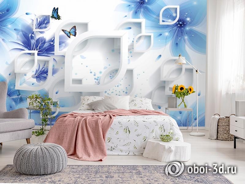 3D Фотообои «Синие цветы с бабочками» вид 2