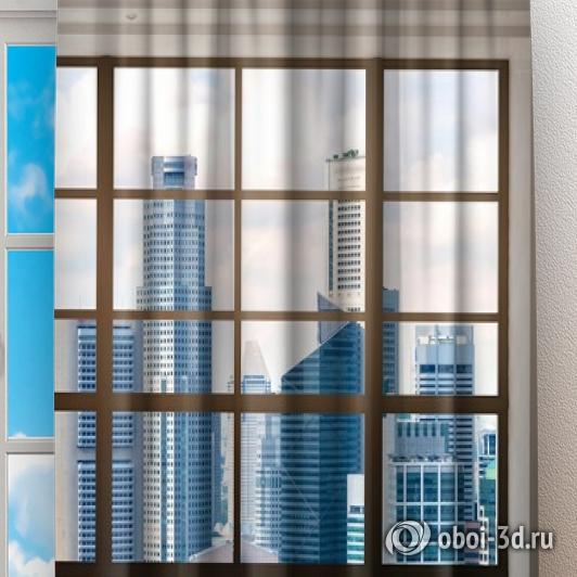 Фотошторы «Окна с панорамным видом на город» вид 2