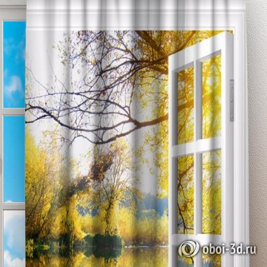 Фотошторы «Вид из окна на озеро с лебедями» вид 2