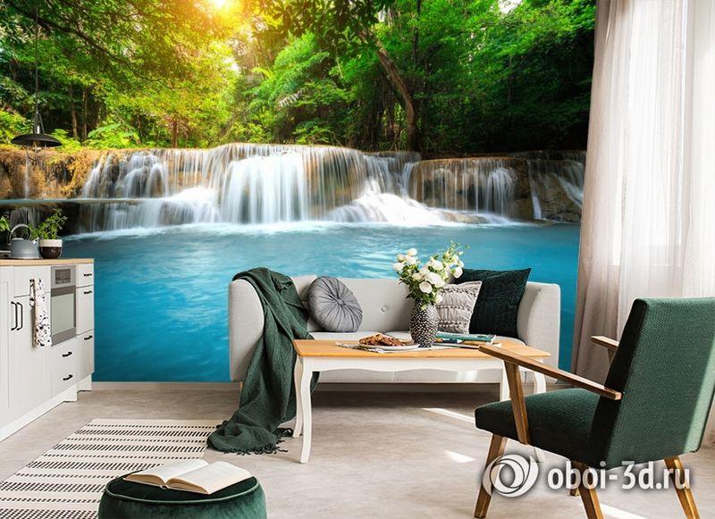 3D Фотообои  «Водопад с голубой водой»  вид 4