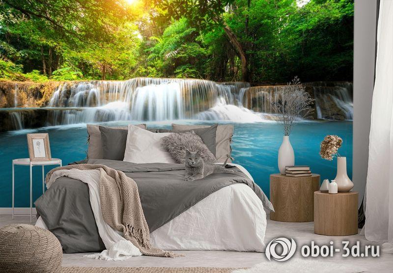 3D Фотообои  «Водопад с голубой водой»  вид 3