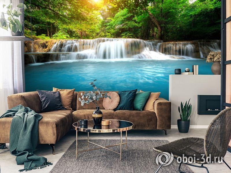 3D Фотообои  «Водопад с голубой водой»  вид 2