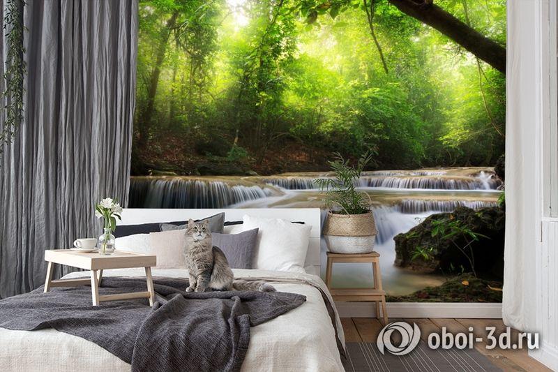 3D Фотообои  «Водопад в солнечном лесу»  вид 7