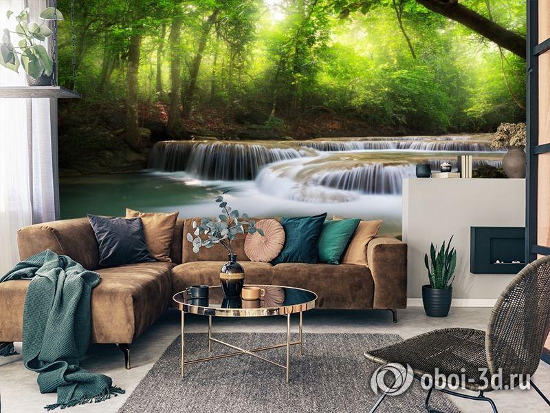 3D Фотообои  «Водопад в солнечном лесу»  вид 2