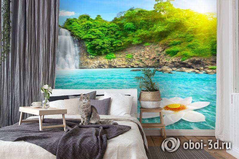 3D Фотообои  «Водопад с кувшинкой»  вид 7