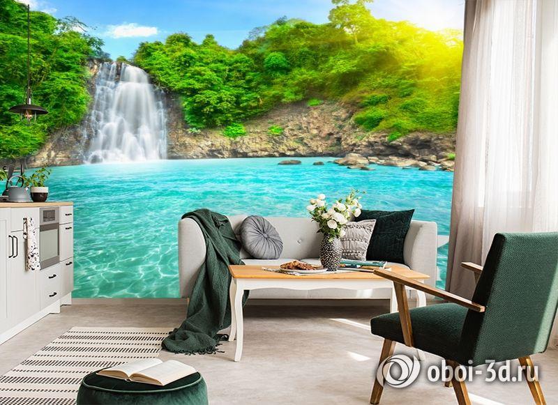 3D Фотообои  «Водопад с кувшинкой»  вид 4