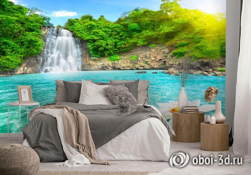 3D Фотообои  «Водопад с кувшинкой»  вид 3