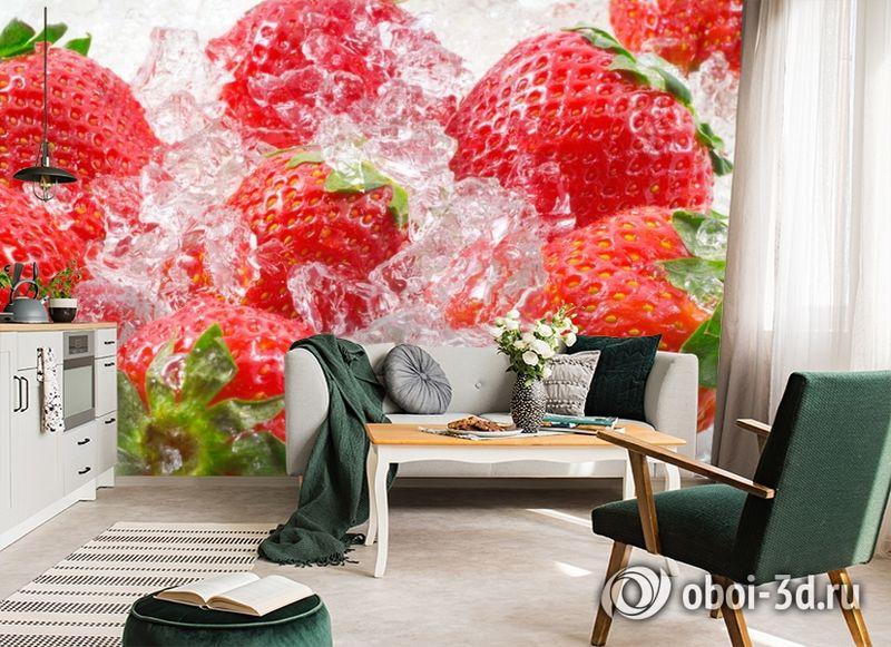3D Фотообои  «Клубника со льдом» вид 7