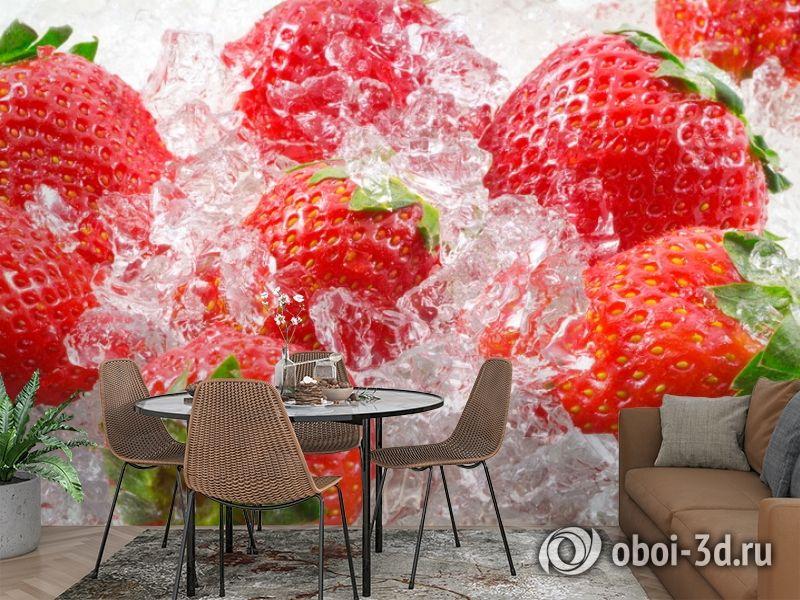 3D Фотообои  «Клубника со льдом» вид 2