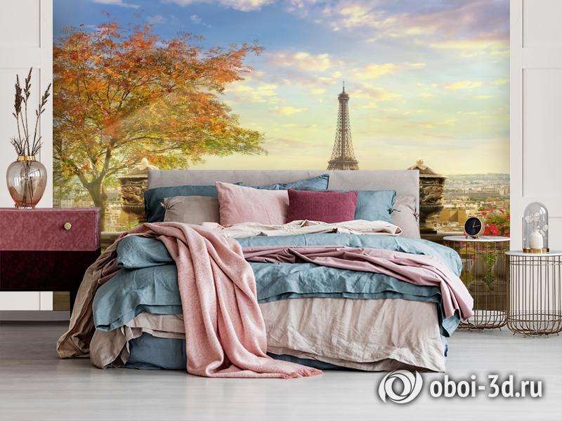 3D Фотообои  «Фреска Париж»  вид 3