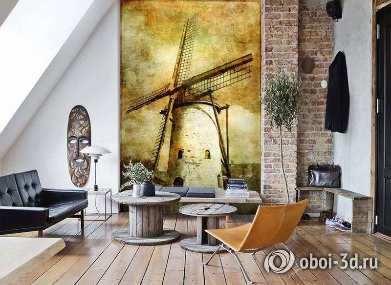 3D Фотообои  «Фреска мельница»  вид 7