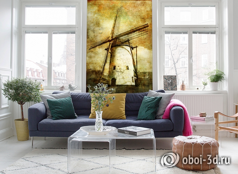 3D Фотообои  «Фреска мельница»  вид 5