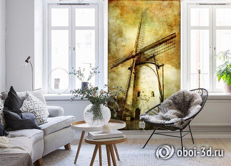 3D Фотообои  «Фреска мельница»  вид 4