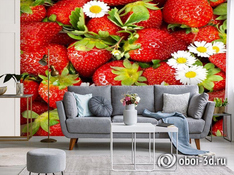 3D Фотообои  «Цветущая клубника»  вид 3