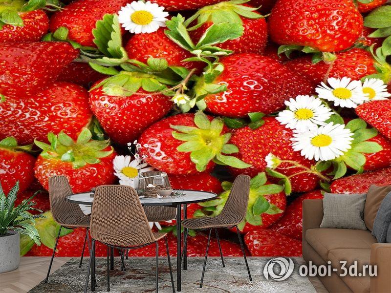 3D Фотообои  «Цветущая клубника»  вид 2