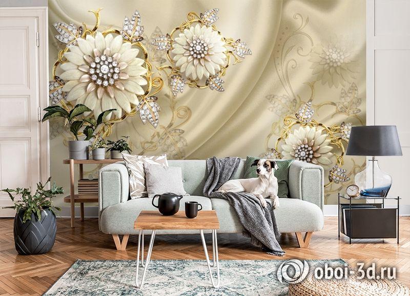 3D Фотообои «Драгоценные цветы на шелке» вид 8