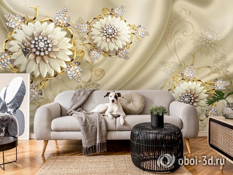 3D Фотообои «Драгоценные цветы на шелке» вид 5