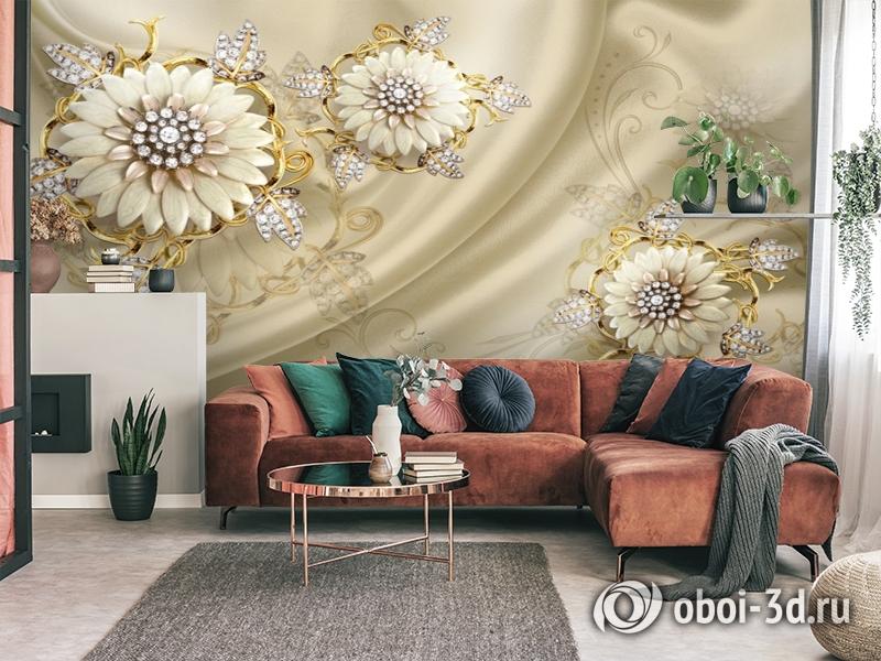 3D Фотообои «Драгоценные цветы на шелке» вид 4