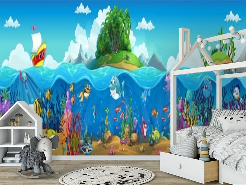 3D Фотообои «Мультяшные рыбки» вид 6