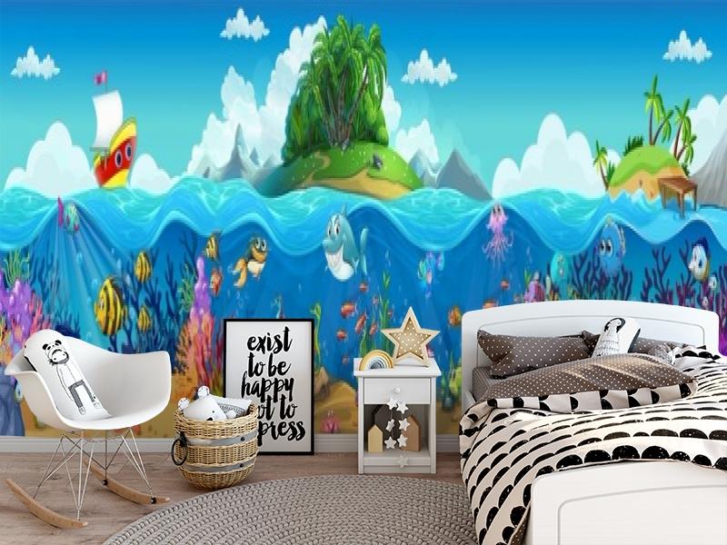 3D Фотообои «Мультяшные рыбки» вид 5