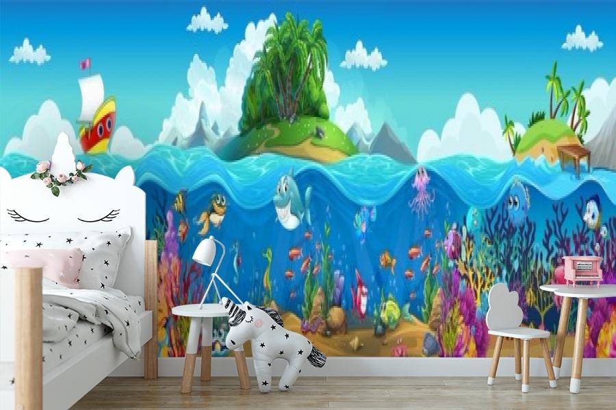 3D Фотообои «Мультяшные рыбки» вид 4