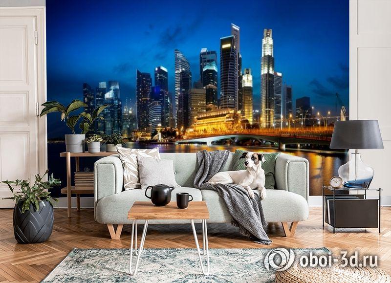 3D Фотообои «Ночной мегаполис» вид 3