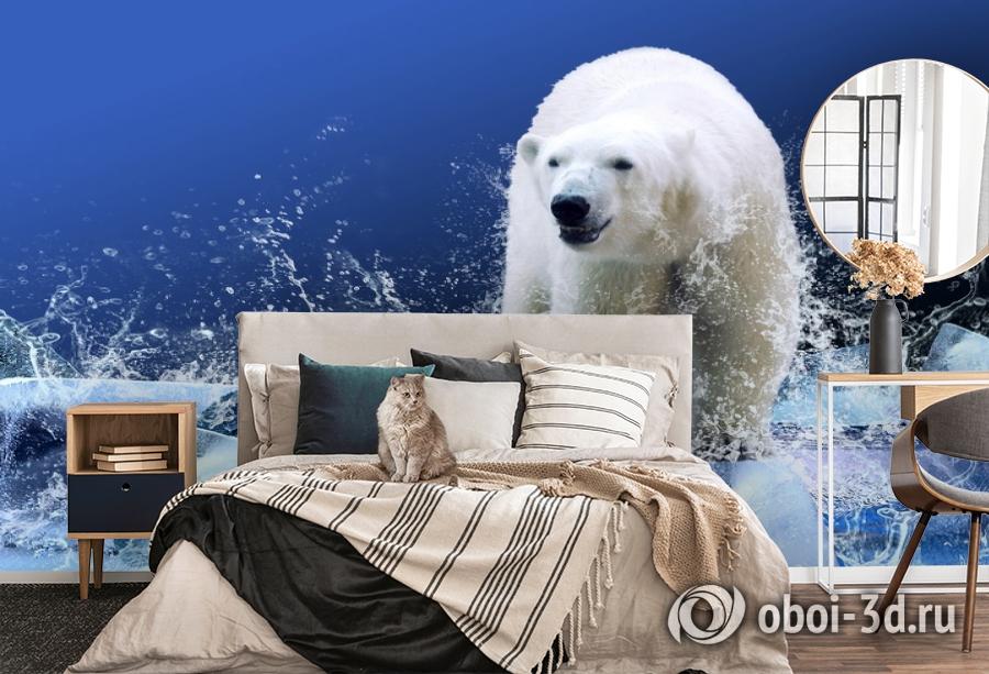3D Фотообои «Белый медведь на льдине» вид 5