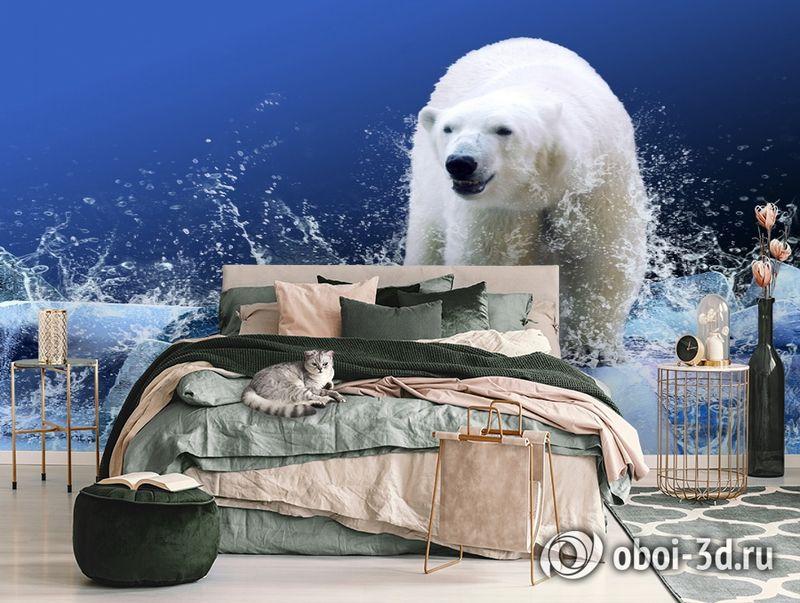 3D Фотообои «Белый медведь на льдине» вид 3