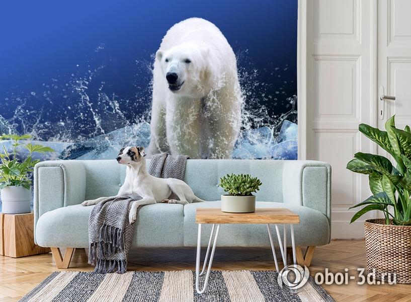 3D Фотообои «Белый медведь на льдине» вид 2