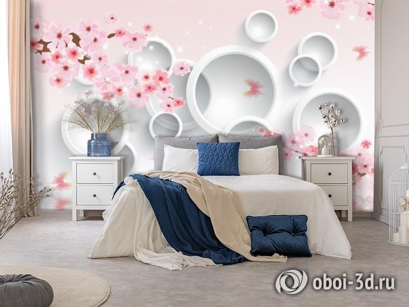 3D Фотообои  «Сакура в цвету»  вид 7
