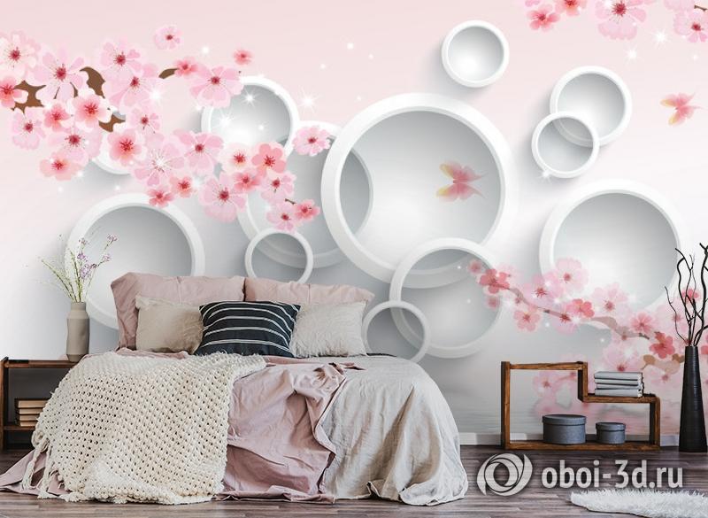 3D Фотообои  «Сакура в цвету»  вид 4