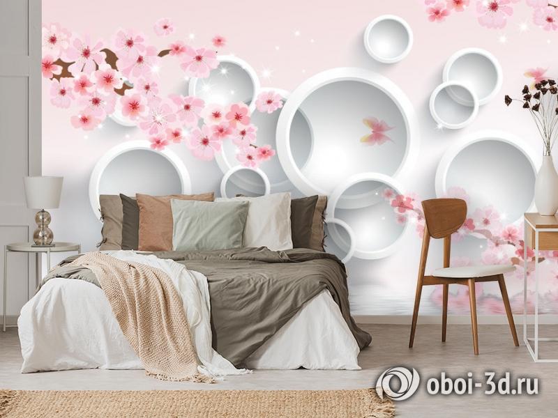 3D Фотообои  «Сакура в цвету»  вид 3