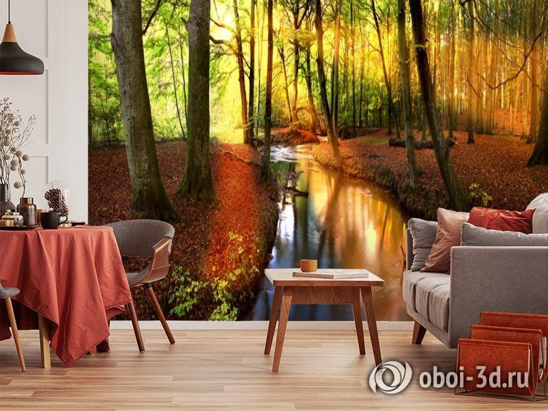 3D Фотообои  «Река в лесу»  вид 5