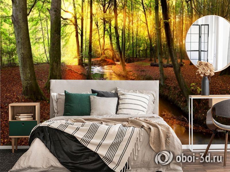 3D Фотообои  «Река в лесу»  вид 4
