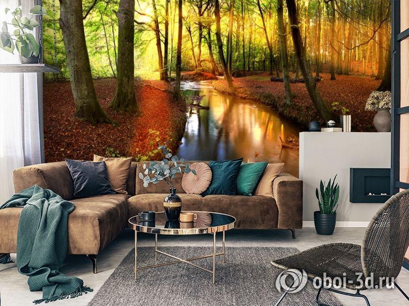 3D Фотообои  «Река в лесу»  вид 3