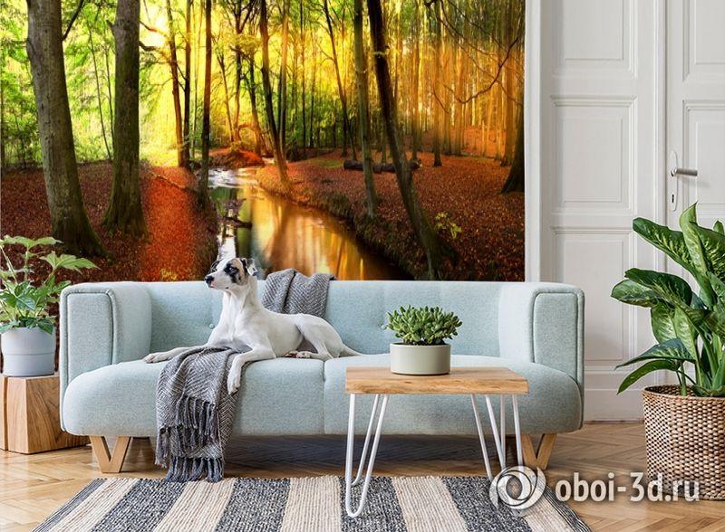 3D Фотообои  «Река в лесу»  вид 2