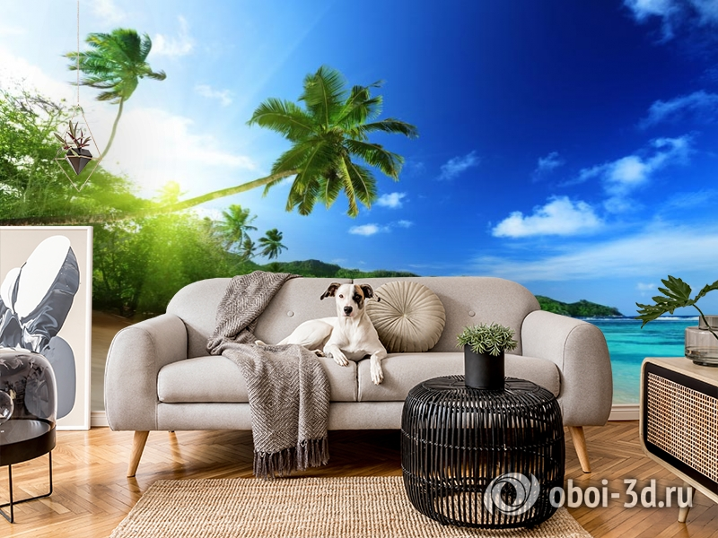 3D Фотообои  «Пальма на пляже»  вид 5