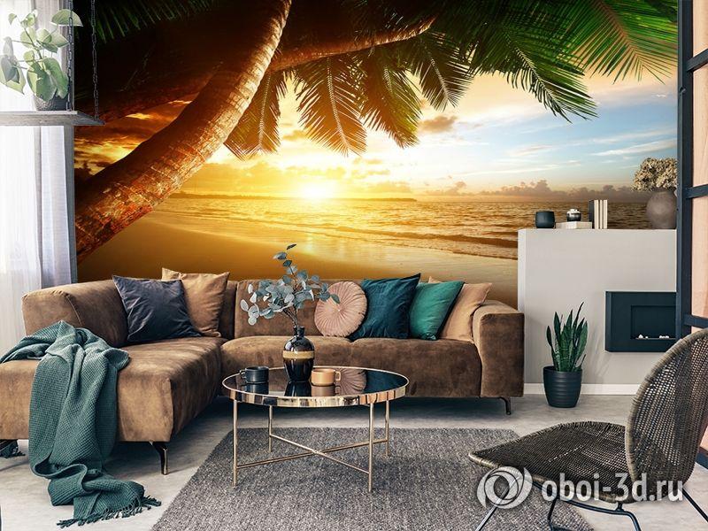 3D Фотообои  «Закат под пальмами»  вид 2