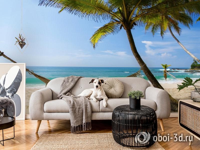 3D Фотообои  «Гамак на пляже»  вид 5