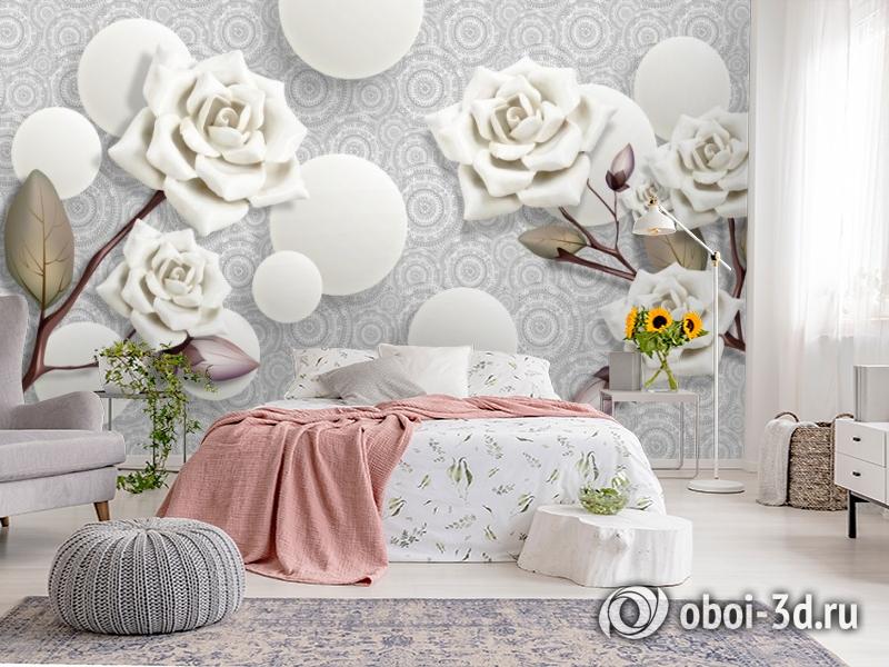 3D Фотообои «Керамические розы с парящими сферами» вид 2