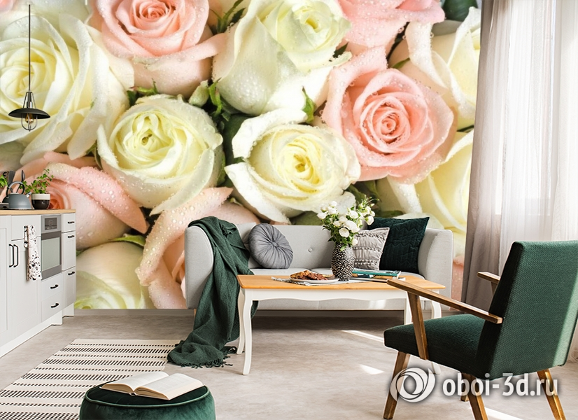 3D Фотообои «Салатово-розовые розы» вид 7