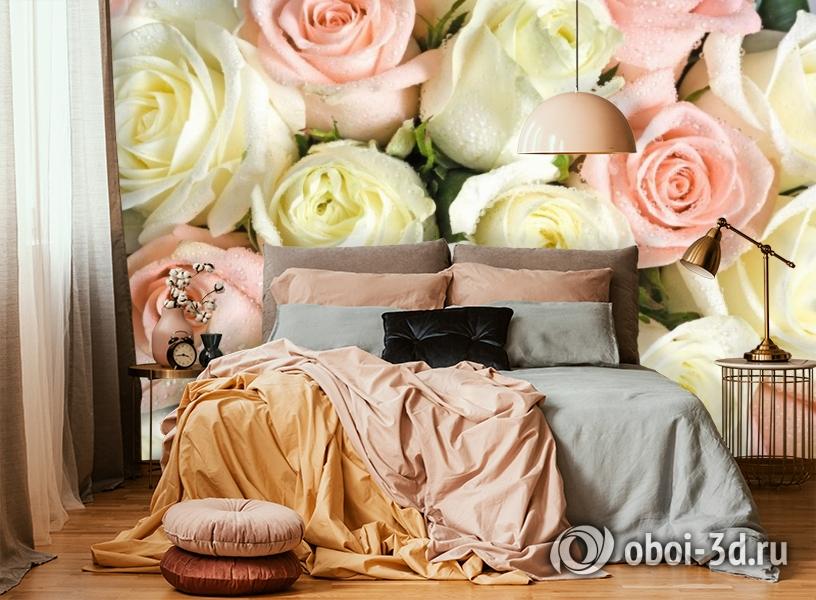3D Фотообои «Салатово-розовые розы» вид 6