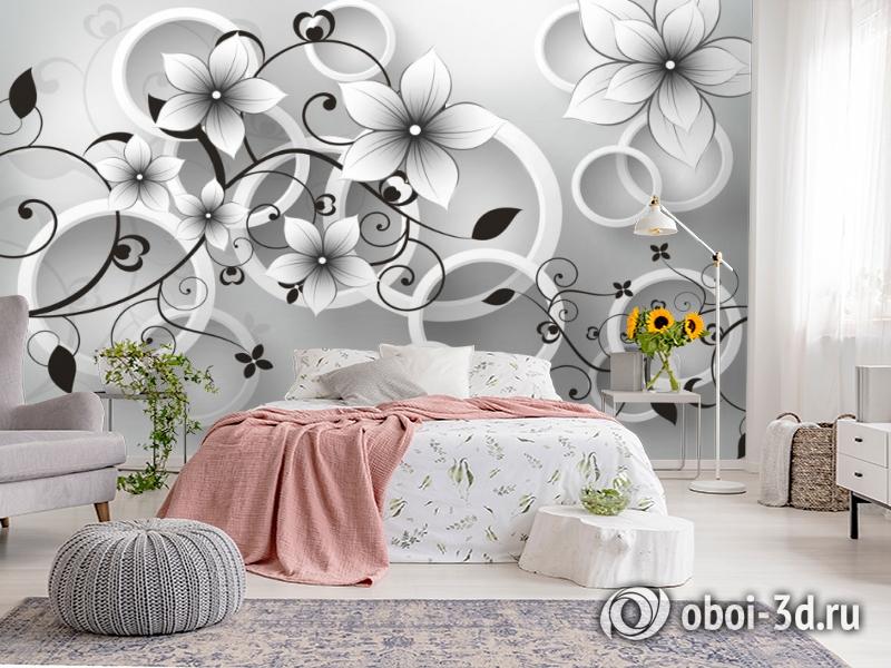 3D Фотообои «Серые цветы» вид 2