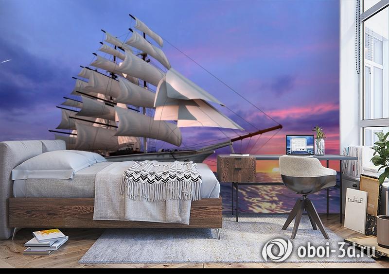 3D Фотообои  «Парусник на закате» вид 5