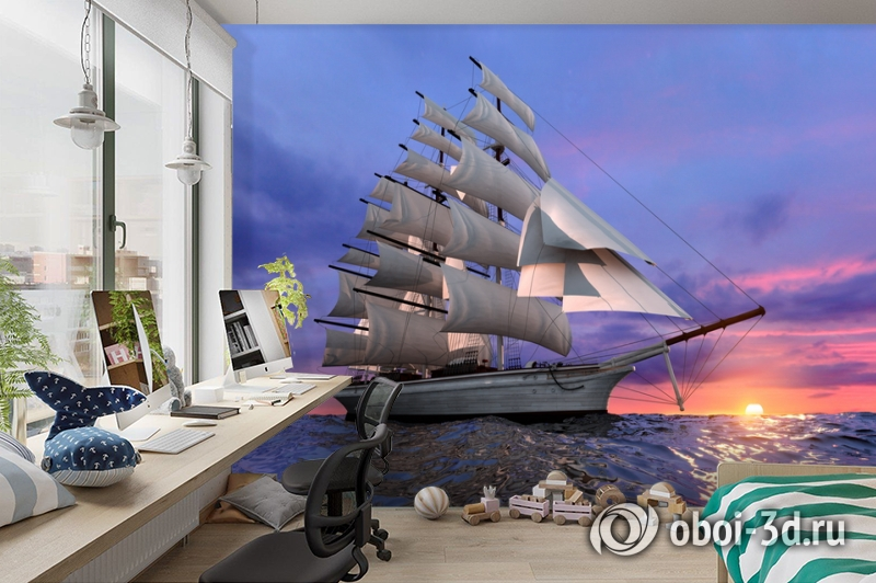3D Фотообои  «Парусник на закате» вид 3