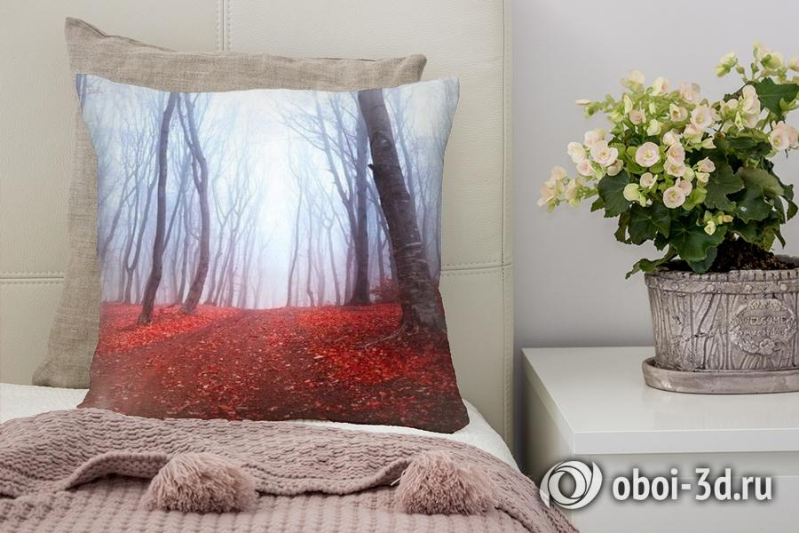3D Подушка «Осенний лес в тумане»