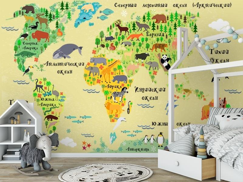 3D Фотообои «Карта мира для детской» вид 6