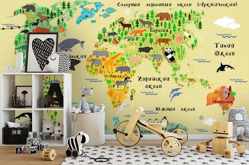 3D Фотообои «Карта мира для детской» вид 2