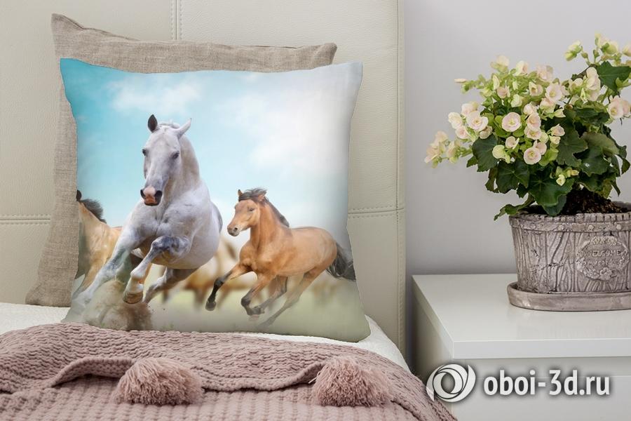 3D Подушка «Лошади в дикой природе»